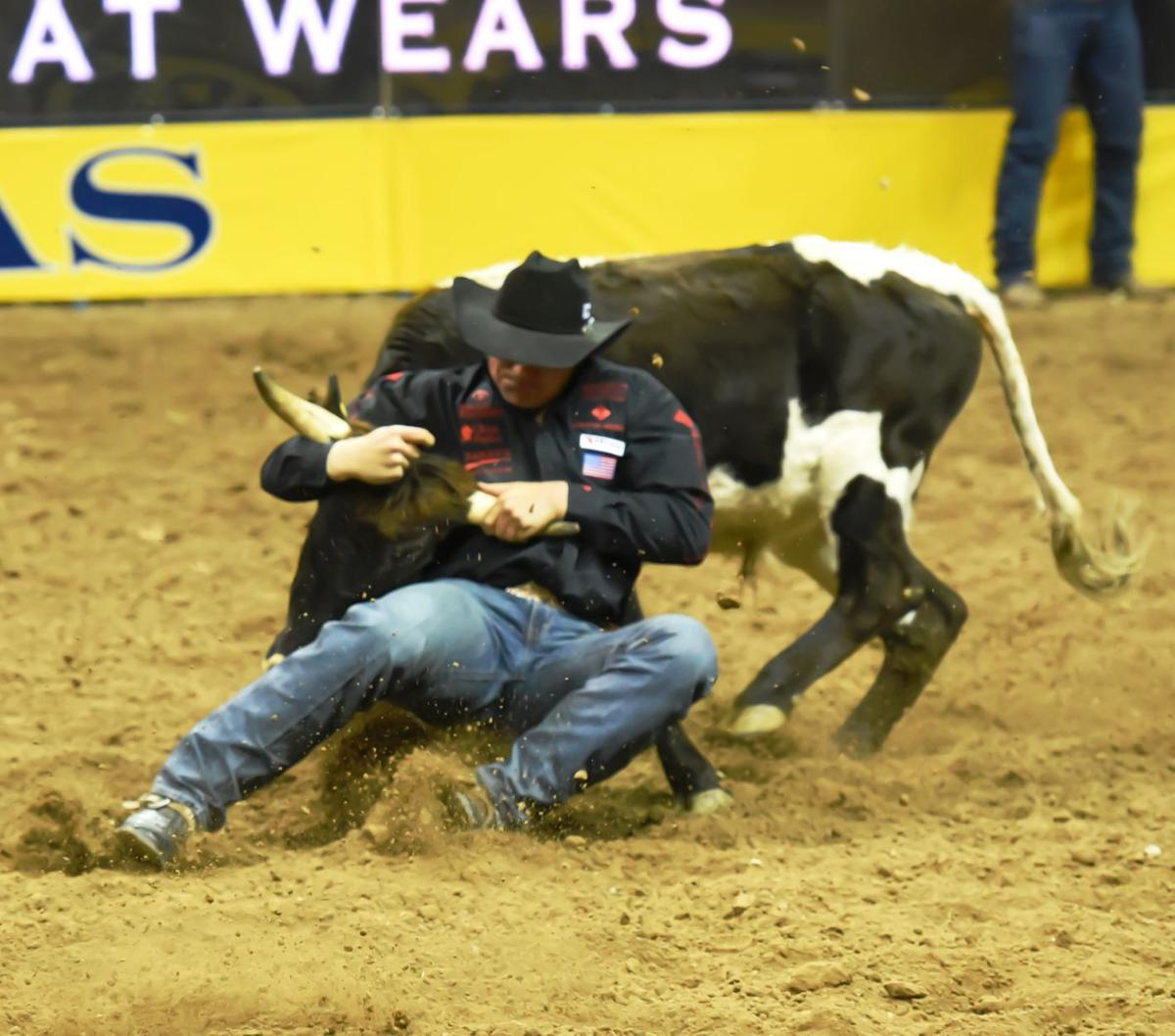 d680a06e Elko steer wrestler Dakota Eldridge wins the fourth round of the 2015  National Finals Rodeo with a time of 3.3 seconds Dec. 7, 2015, at Thomas &  Mack Center ...