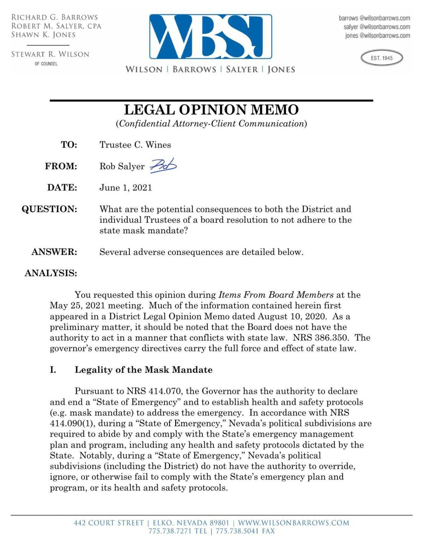 Elko County School District legal opinion memo 1