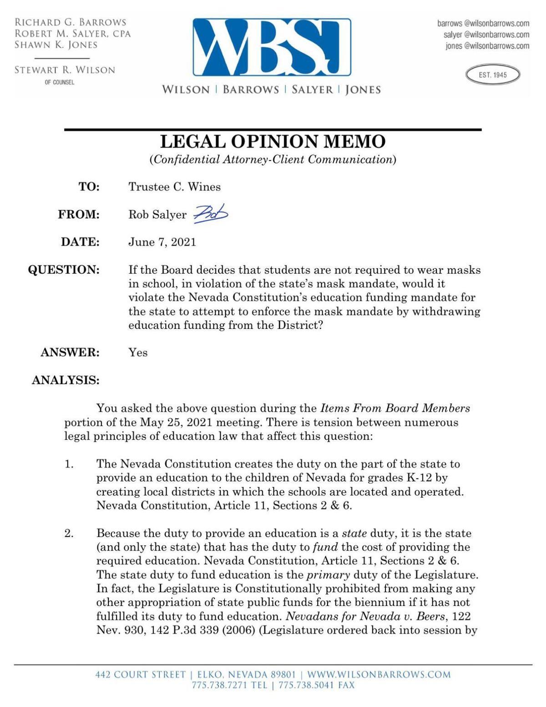 Elko County School District legal opinion memo 2