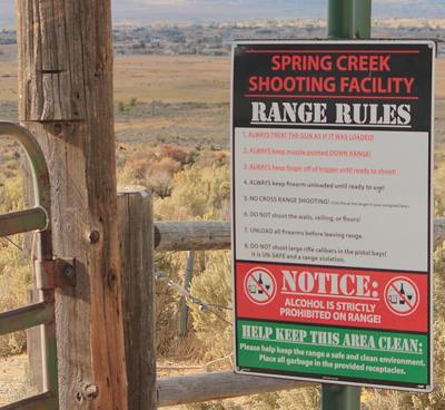 Spring Creek Shooting Range sign