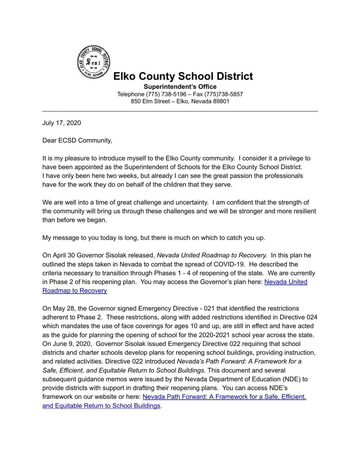 Superintendent Letter to the Community, July 17, 2020