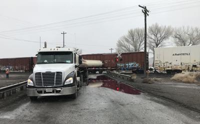 Truck train collision