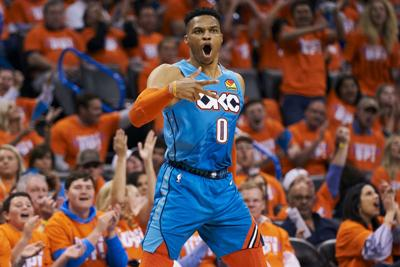 Russell Westbrook #0 of the Oklahoma City Thunder reacts after a made basket against the Portland Trail Blazers during the second half of game three of the Western Conference quarterfinals at Chesapeake Energy Arena on April 19, 2019 in Oklahoma City, Oklahoma.(Cooper Neill/Getty Images/TNS) **FOR USE WITH THIS STORY ONLY**