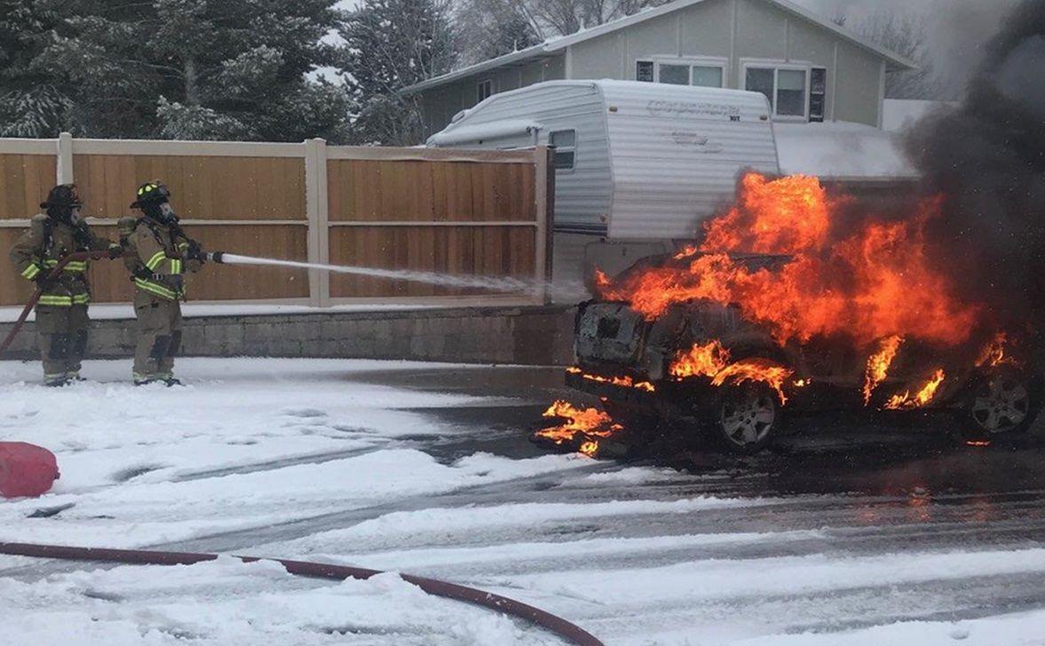 Robbery car fire