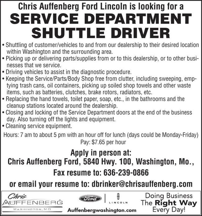 Service Department Shuttle Driver
