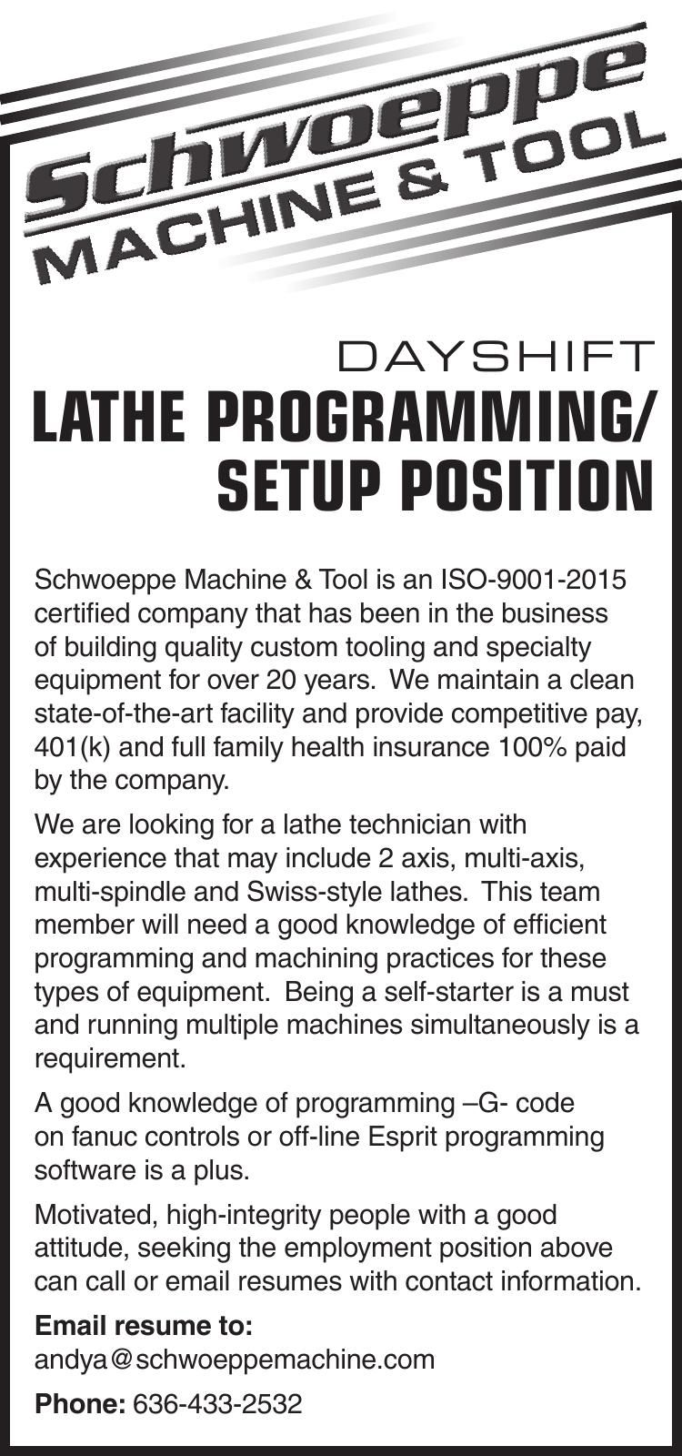 LATHE PROGRAMMING/ SETUP POSITION
