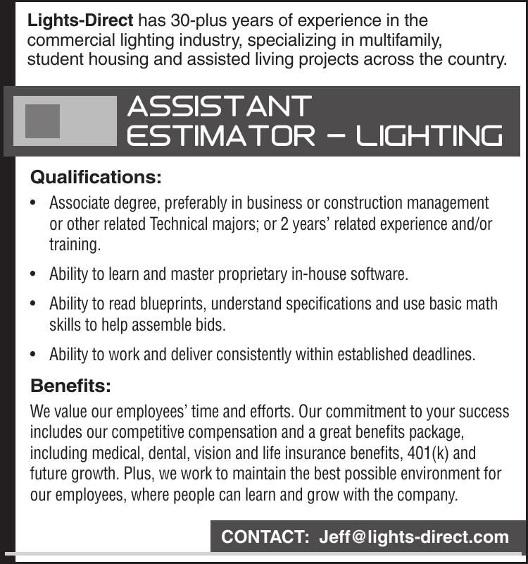 Assistant Estimator – Lighting