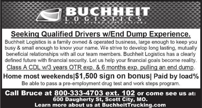 Buchheit Logistics Qualified Drivers with End Dump Experience