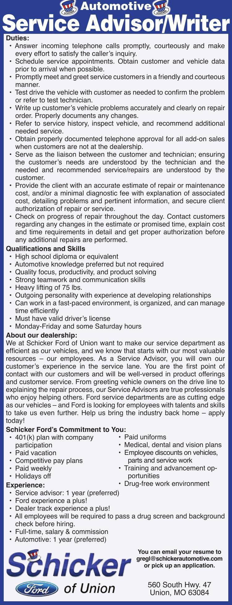 Automotive Service Advisor/Writer