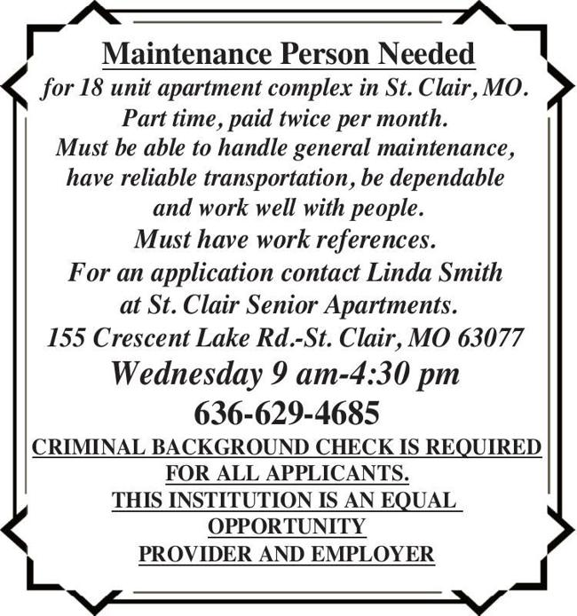 Maintenance Person Needed