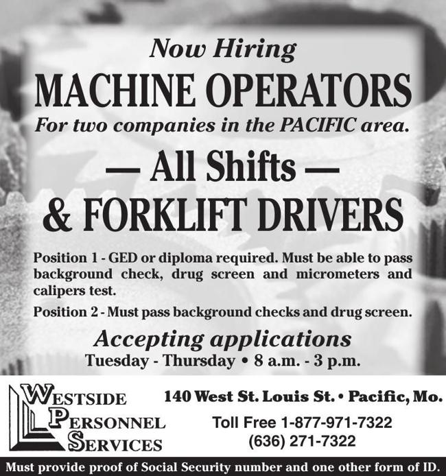 Machine Operators & Forklift Drivers