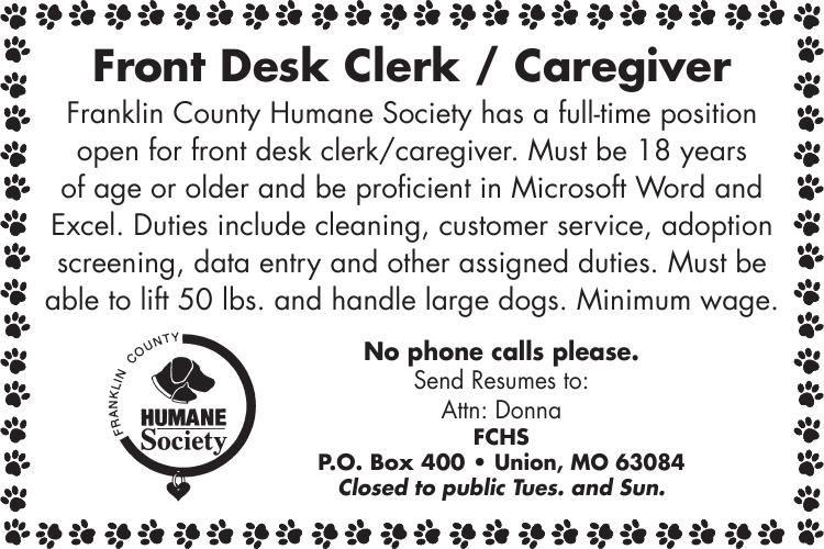 Front Desk Clerk / Animal Caregiver