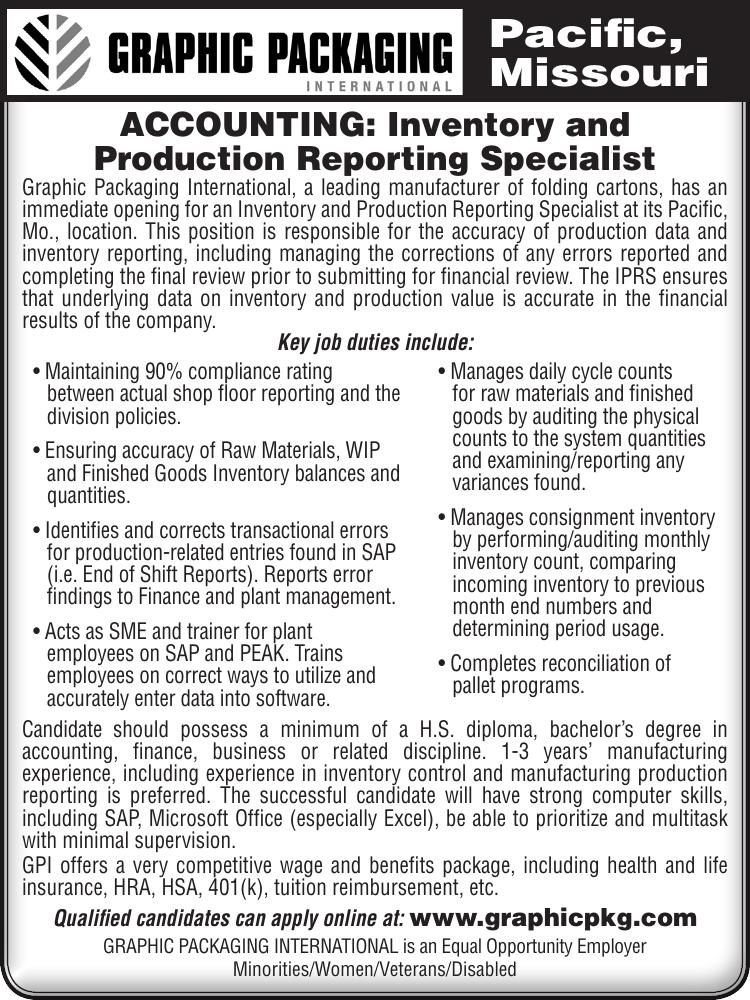 Inventory and Production Reporting Specialist