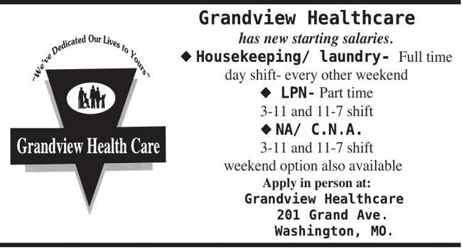 Grandview Healthcare Center is Now Hiring!