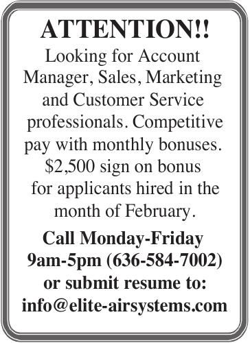 Looking for Account Manager, Sales, Marketing and Customer Service professionals