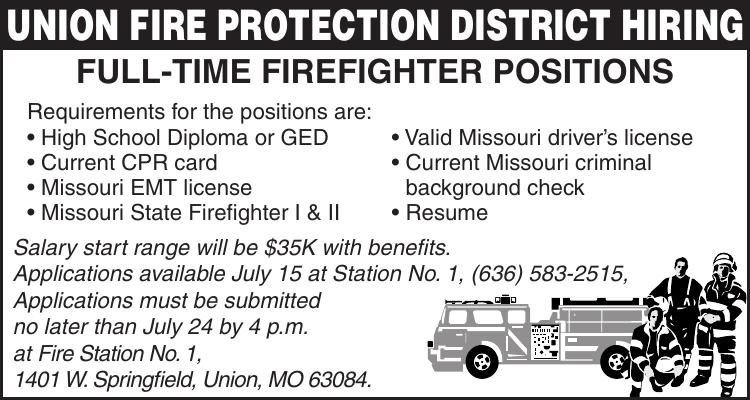 UNION FIRE PROTECTION DISTRICT HIRING