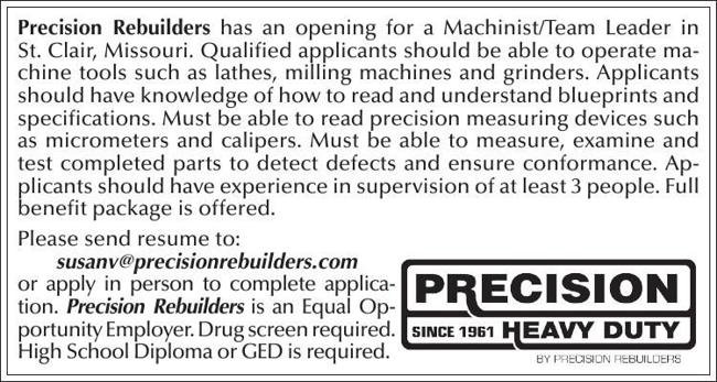 Machinist/Team Leader
