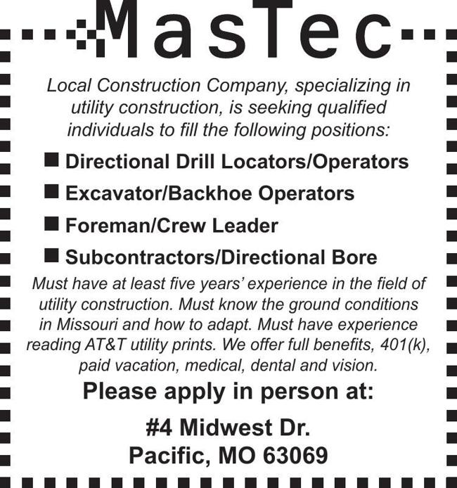 Construction Positions Available