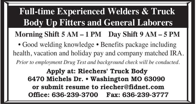 Full-time Experienced Welders & Truck Body Up Fitters and General Laborers