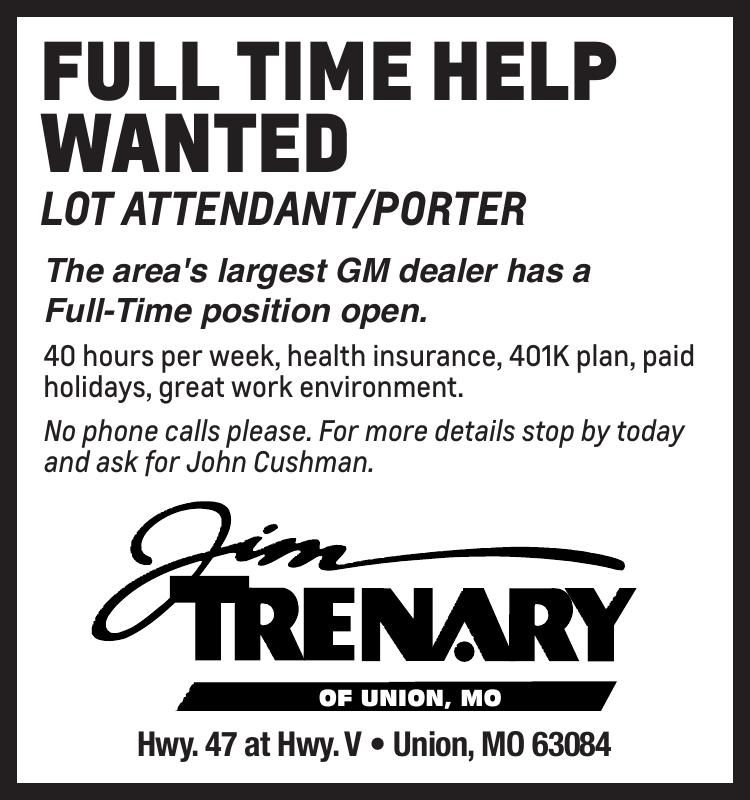 Full Time Help Wanted Lot Attendant/Porter