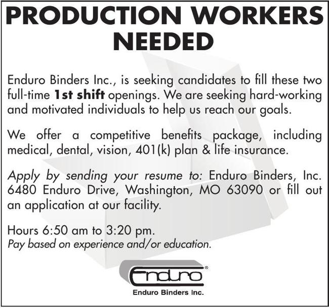 Production Workers Needed