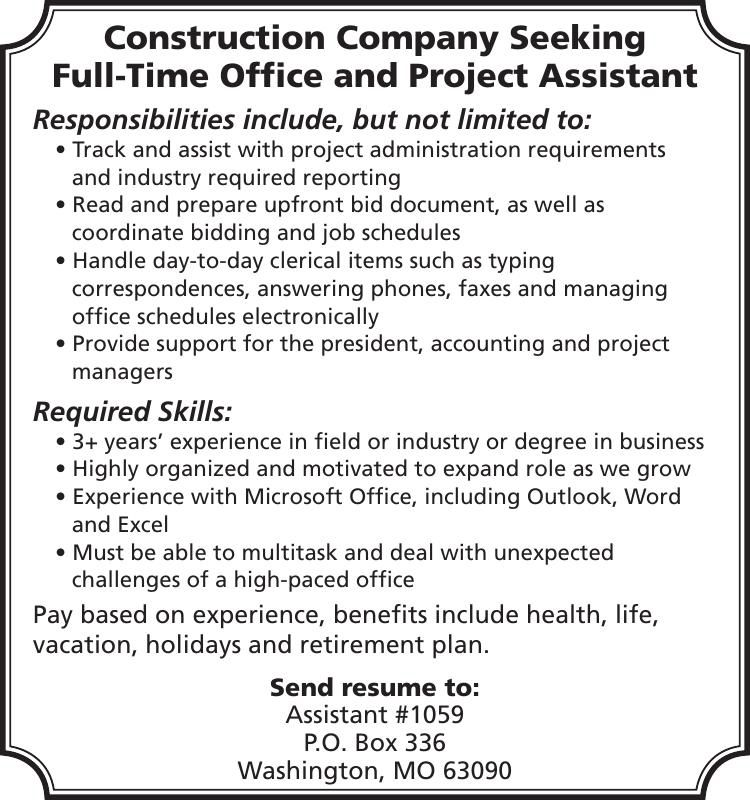 Full-Time Office and Project Assistant