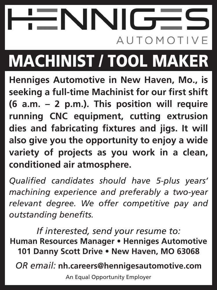 Machinist • Tool Maker