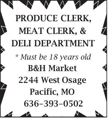 PRODUCE CLERK, MEAT CLERK, & DELI DEPARTMENT