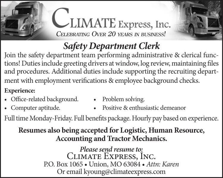 Safety Department Clerk