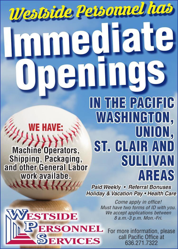 Immediate Openings