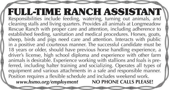 Full Time Ranch Assistant