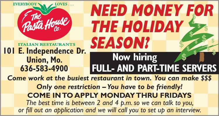 Pasta House Now Hiring!