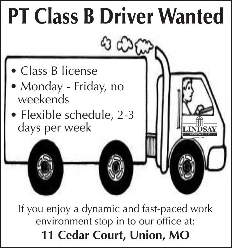 PT Class B Driver Wanted