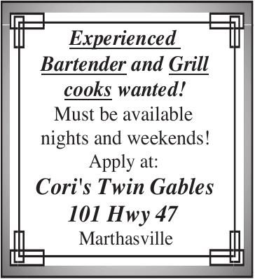 Experienced Bartender and Grill Cooks Wanted!