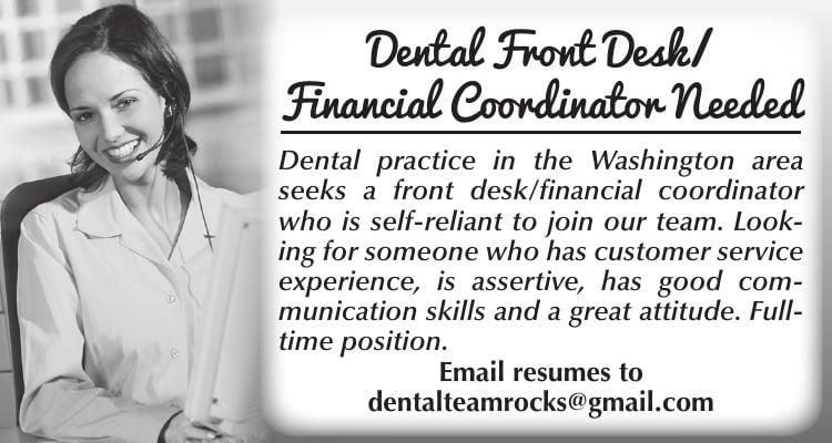 Dental Front Desk / Financial Coordinator Needed