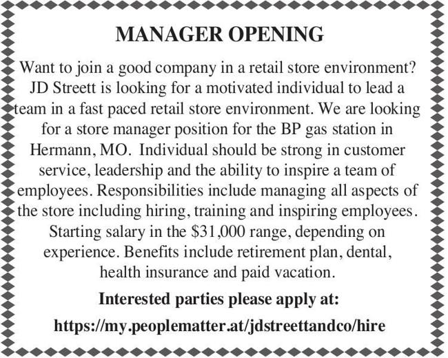 Manager Opening
