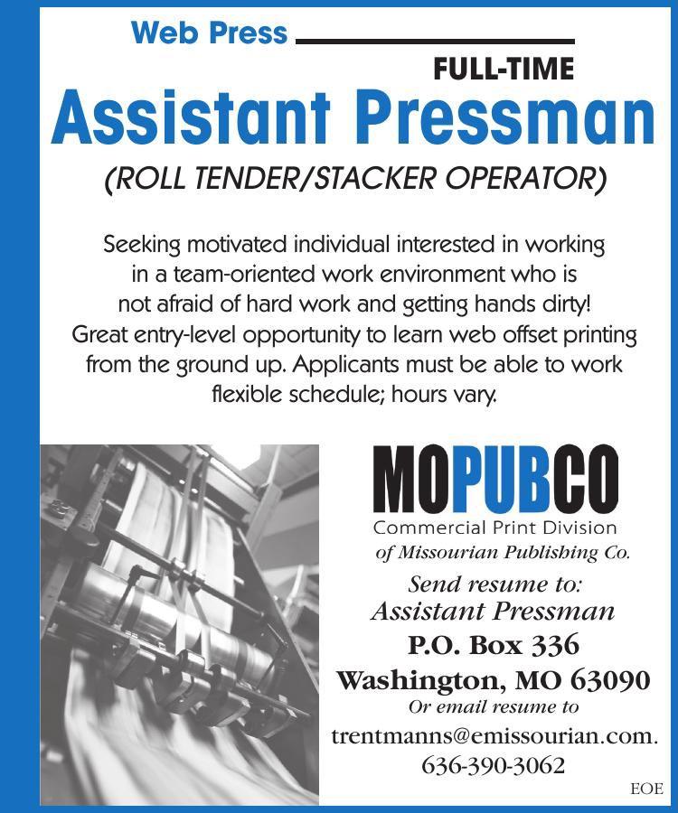 Full Time Assistant Pressman