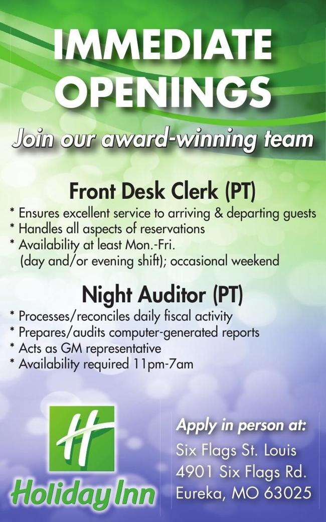 Front Desk Clerk / Night Auditor Positions Open