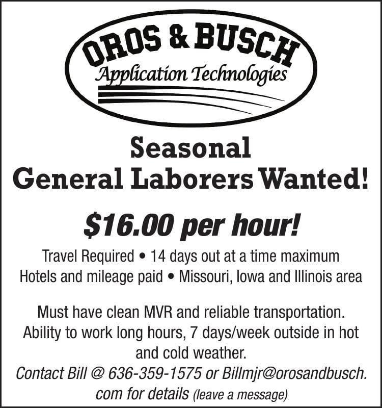 Seasonal General Laborers Wanted