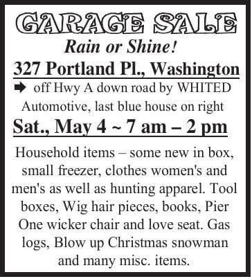 GARAGE SALE 327 Portland Pl. Washington