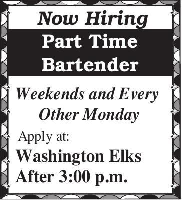 Part Time Bartender