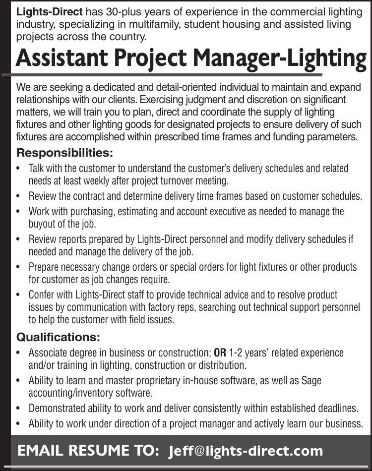Assistant Project Manager-Lighting