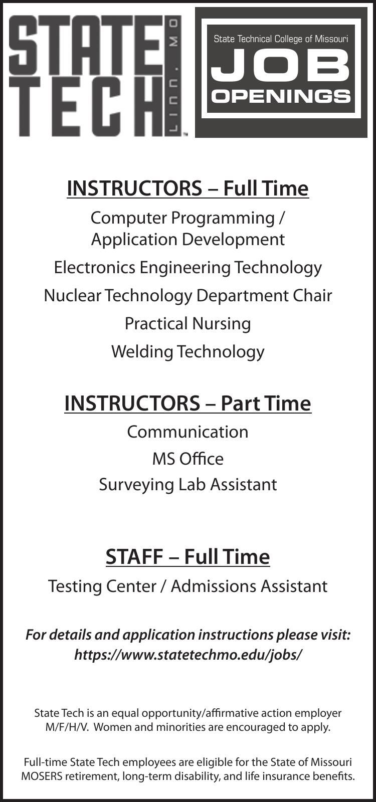 State Technical College of Missouri Now Hiring