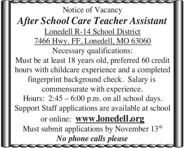 After School Care Teacher Assistant