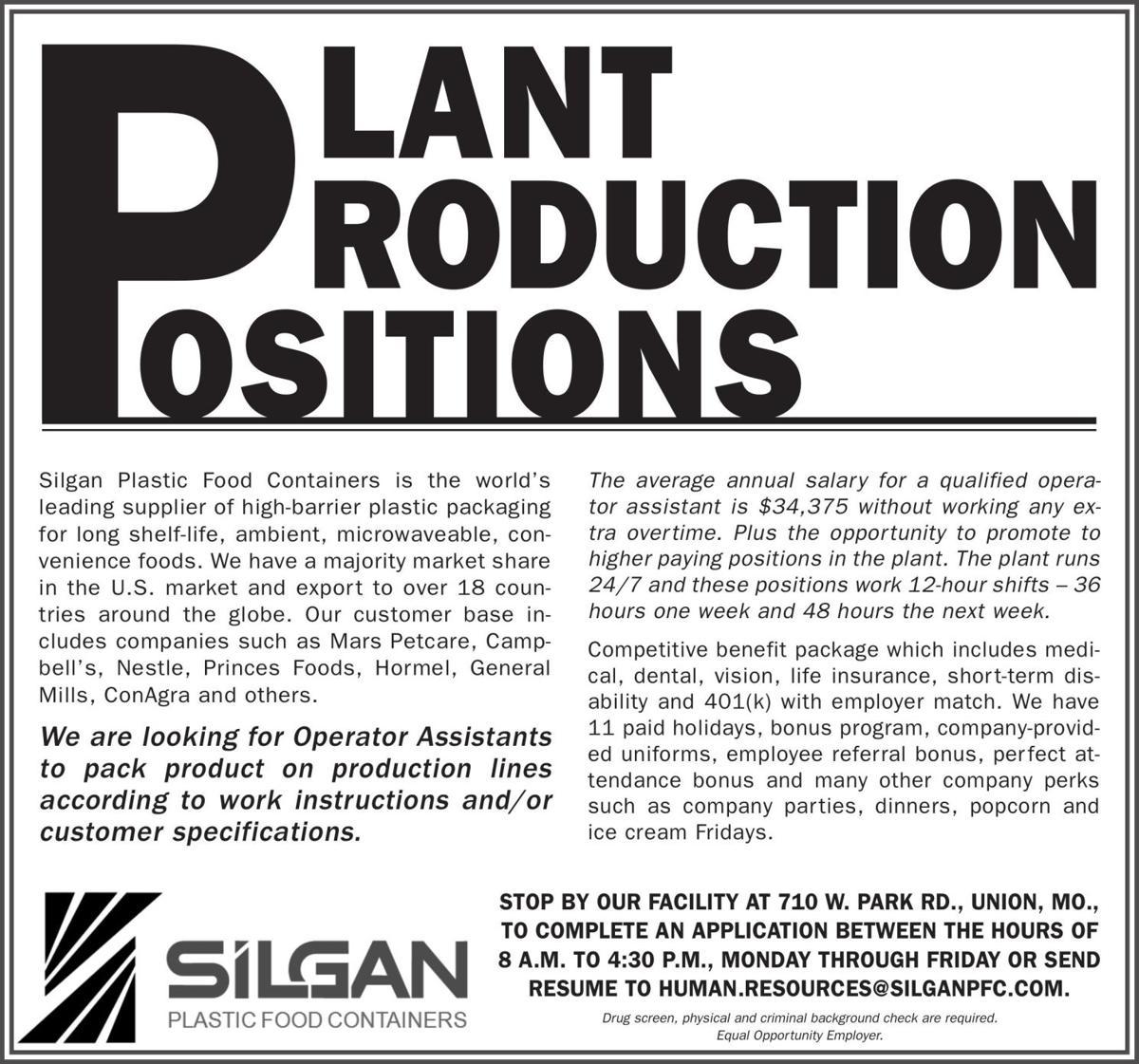 PLANT PRODUCTION POSITIONS