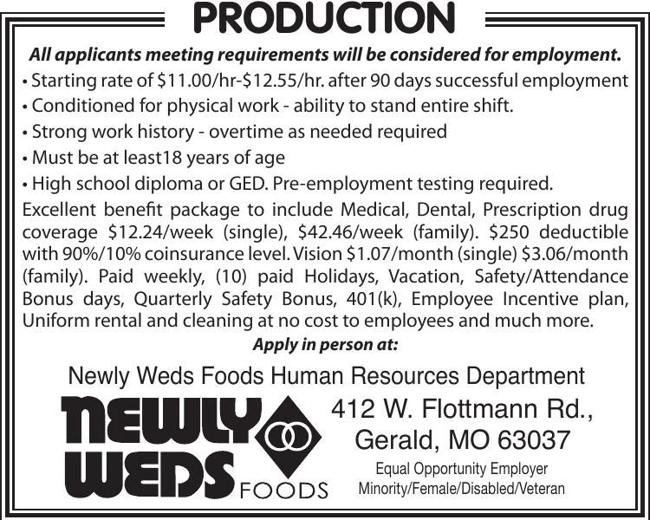 Production / Manufacturing Position Available