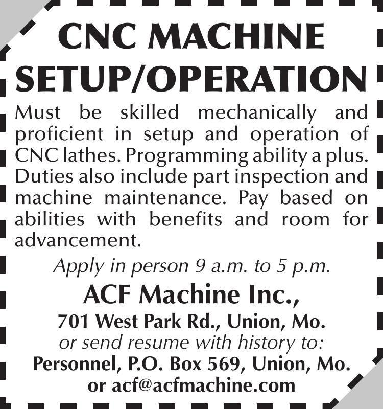 CNC MACHINE SETUP/OPERATION