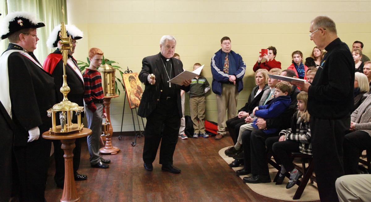 010 Archbishop Carlson Blesses St Gertrude School Chapel.jpg
