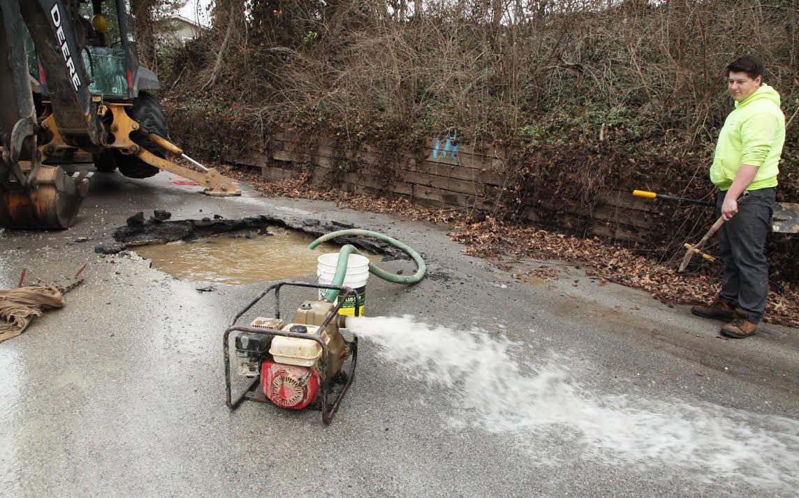 Water Main Break on West Main Street