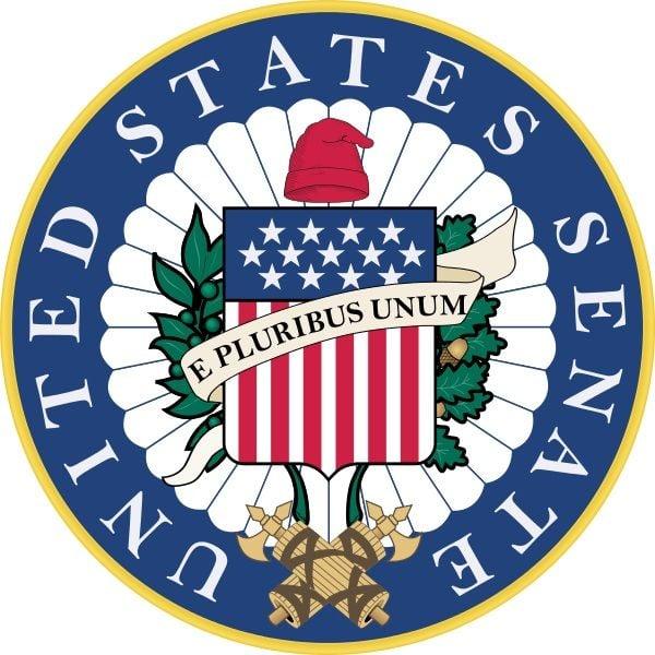 The seal of the U.S. Senate.